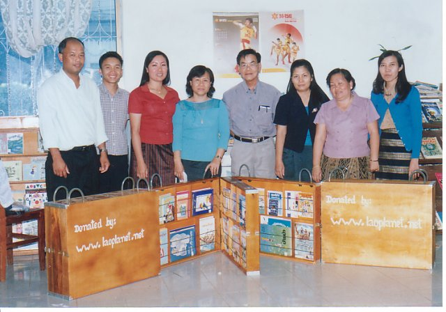 Laoplanet book boxes donated in Laos