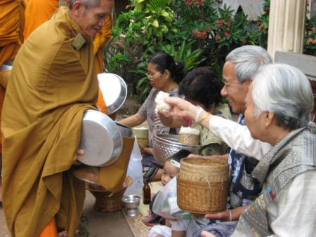 Morning Alms Giving in Vientiane