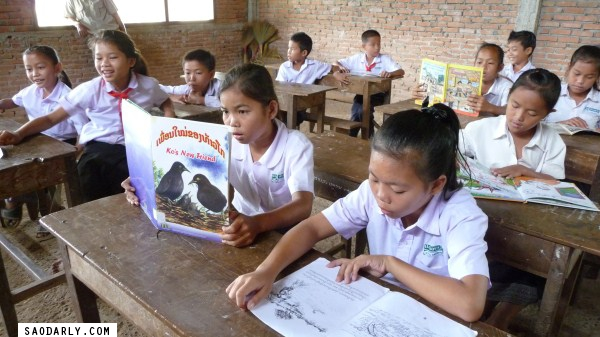 Reading time at Houay Laou Elementary School