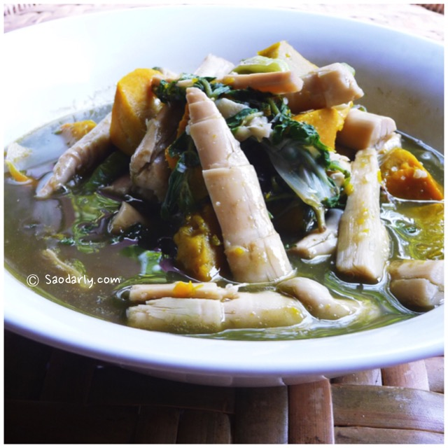 Lao Food - Bamboo Shoot Soup with pumpkin