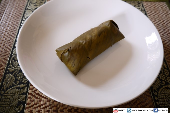 Steamed sticky rice wrapped in banana leaves