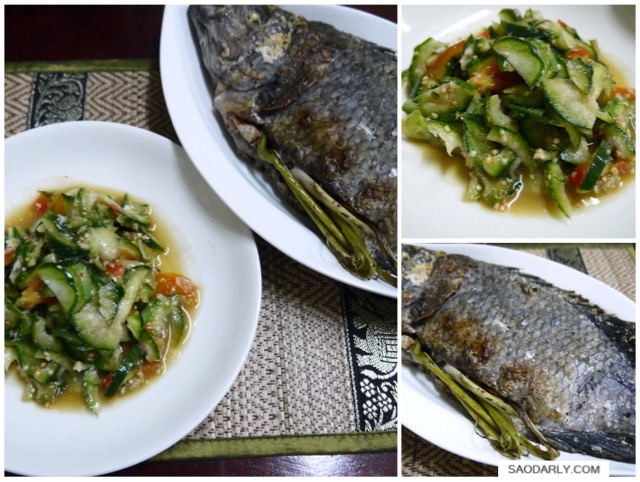 Eggplant Salad and Grilled Fish
