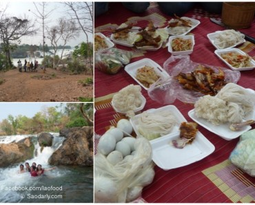 lunch at waterfalls in laos