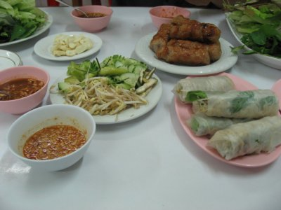 Fried spring rolls and fresh spring rolls