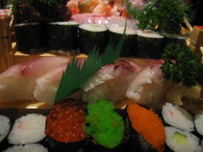 Sushi and fish eggs roll
