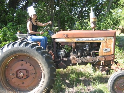 DJ on a tractor