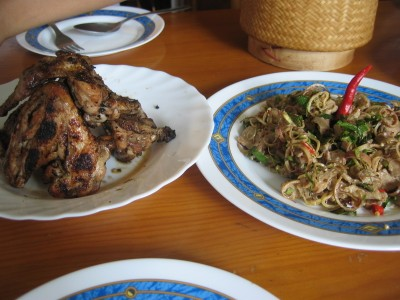 Lao chicken BBQ and laap moo