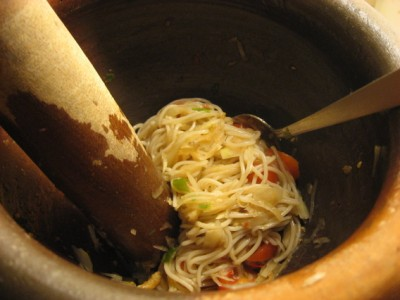 papaya and brown rice vermicelli salad