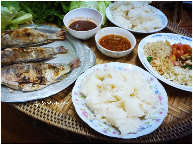 Fish Wrap for dinner in Laos