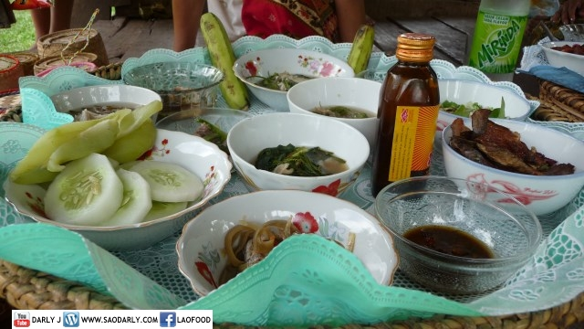 Food at Temple in Pakse