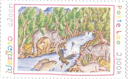 2000 Children Painting Lao Stamp