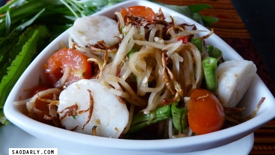 Lao Food Fried Green Papaya Salad