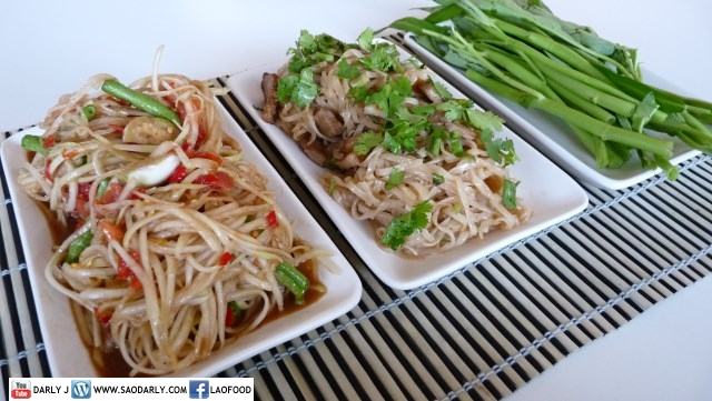 Lao Green Papaya Salad and Fried Noodle