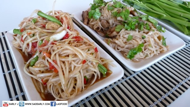 Papaya Salad and Fried Noodle