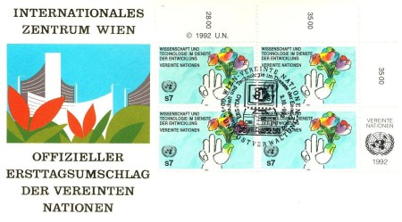 UN Vienna FDC – Flowers and Science