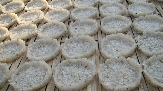 Rice cakes drying at LP evening market