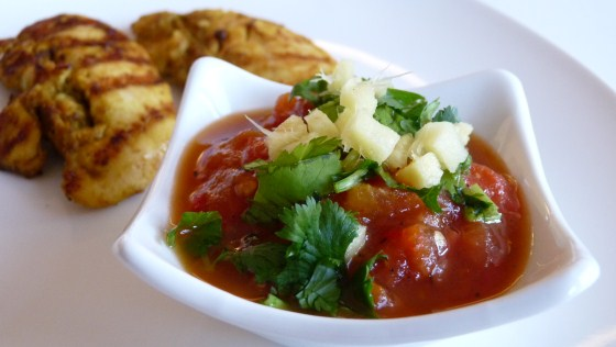 BBQ chicken and spicy tomato chutney
