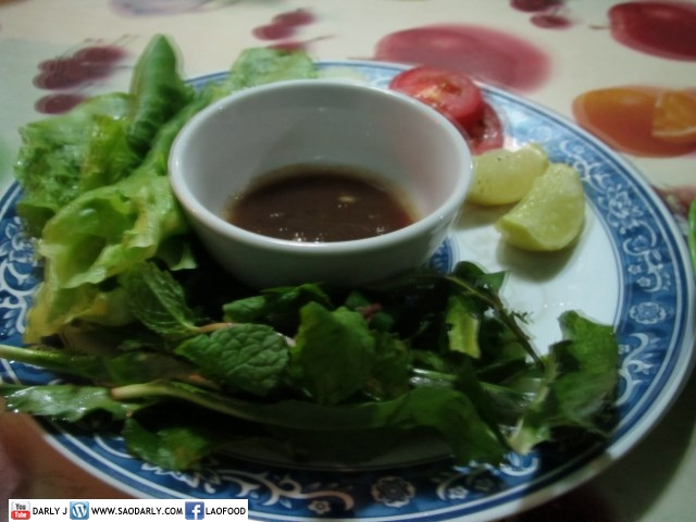 vegetables and dipping sauce