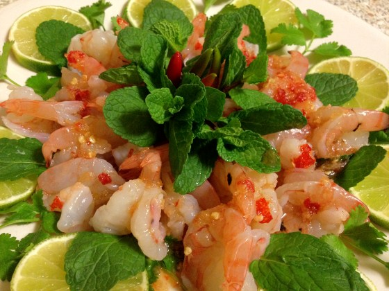 prawns in chili fish sauce dressing