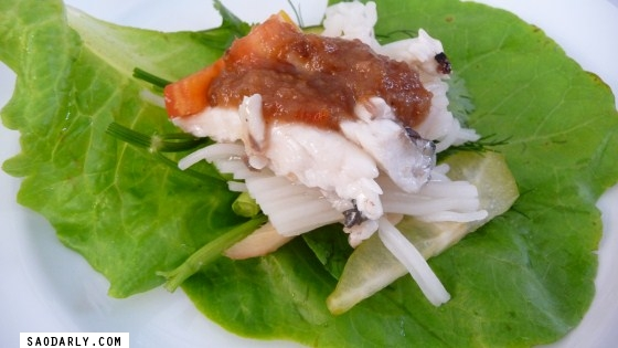Fish Wrap for lunch in Vientiane