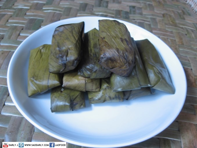 Steamed Sticky Rice in banana leaf