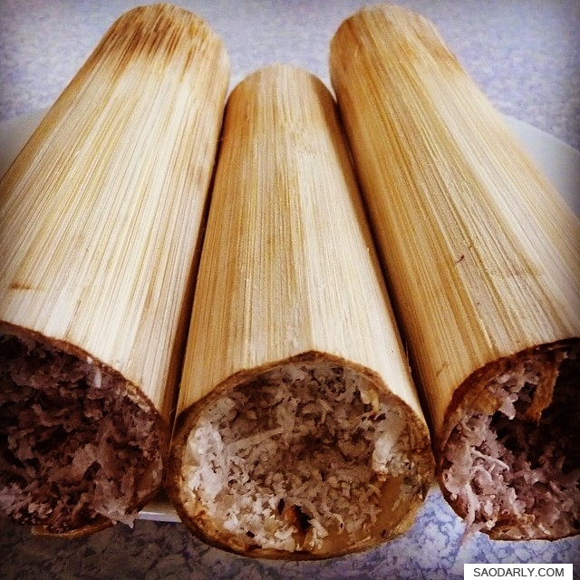 grilled stickyrice bamboo tube