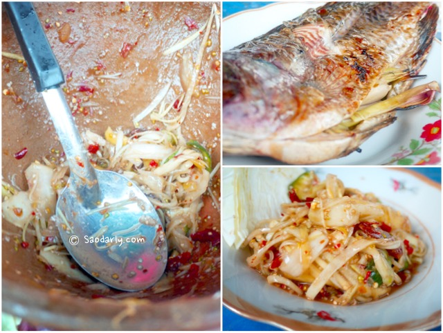 papaya salad grilled fish
